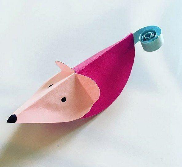 Объемные мышки из цветной бумаги