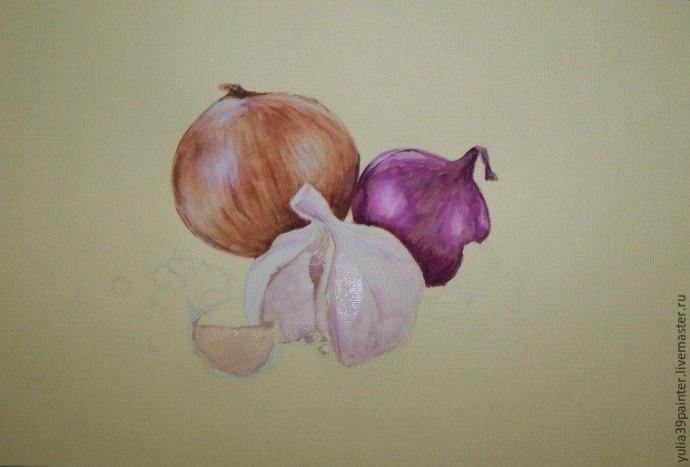 Урок рисования: лук и чеснок