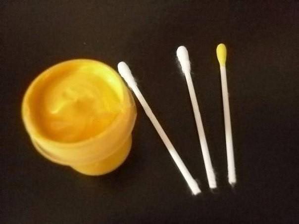 Букет из пластилина, ватных дисков, ватных палочек и фасоли 4