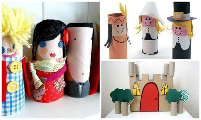 Поделки с детьми из картонных втулок: человечки