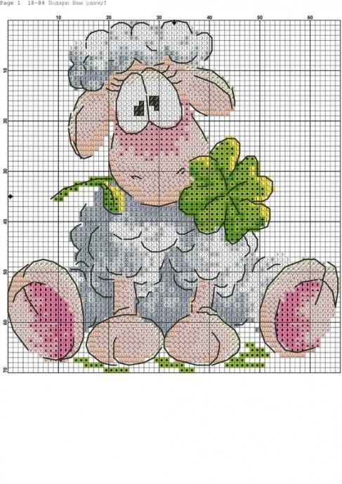 Схемы вышивки с очаровательными овечками