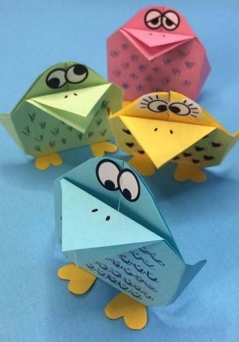 Веселые вороны в технике оригами 0