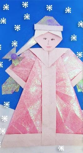 Снегурочка в технике оригами 7