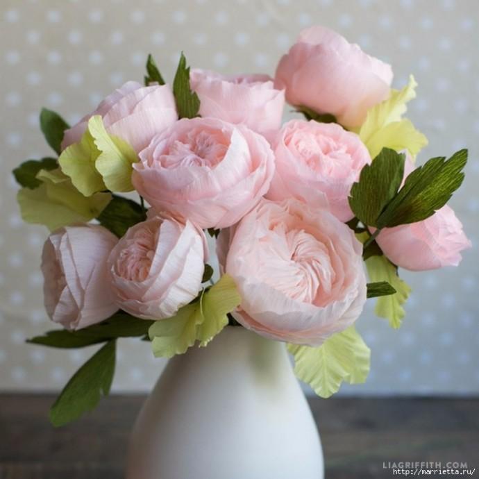 Английская роза из гофрированной бумаги: мастер-класс