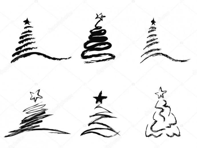Множество простых вариантов рисования ёлочки