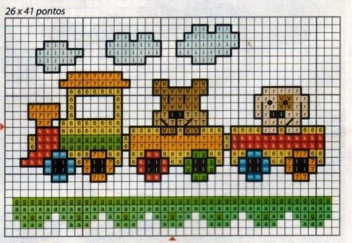 Миниатюры детской вышивки с поездами и вагончиками