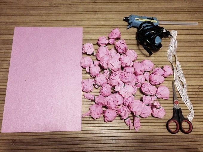 Цветы открытки с гофробумагой, украсить открытку день