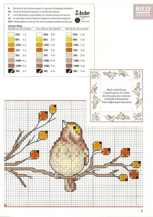 Схемы вышивки для детей: птички 1