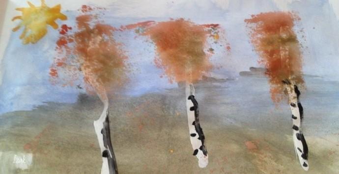 Идеи рисования губкой и гуашью