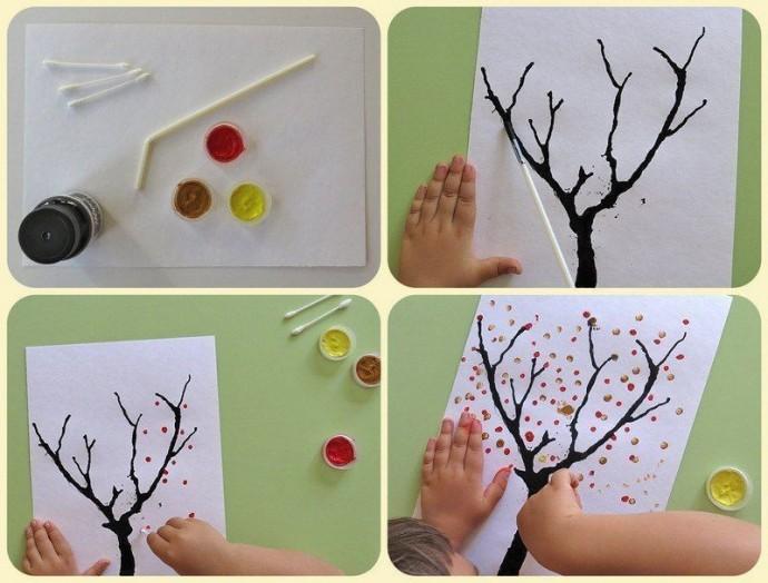 Рисование пальцами и ватными палочками