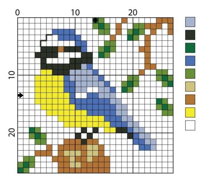 Схемы вышивки птичек с детьми 2