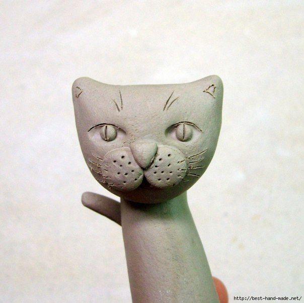 Лепим кота из глины