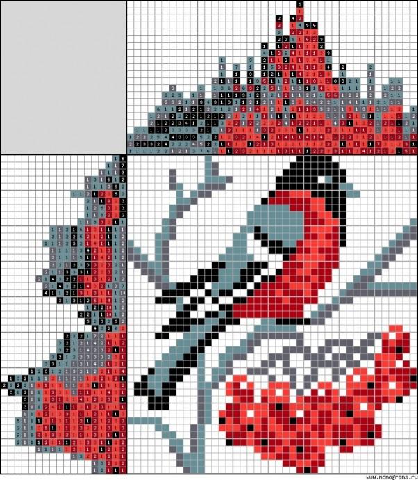 Снегири, синицы и другие птахи для вышивки с детьми