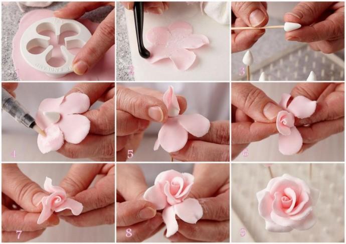 Учимся лепить розу
