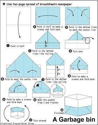 Коробка из газеты в технике оригами