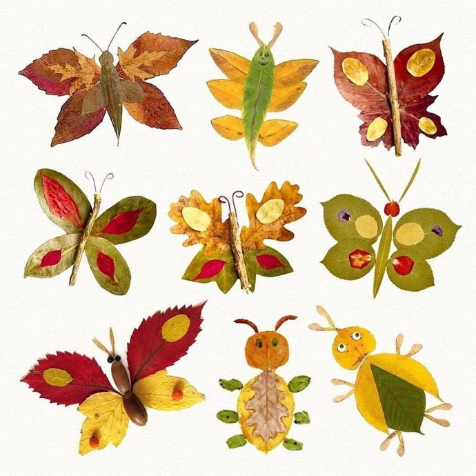 Изобилие идей по созданию аппликаций из осенних листьев