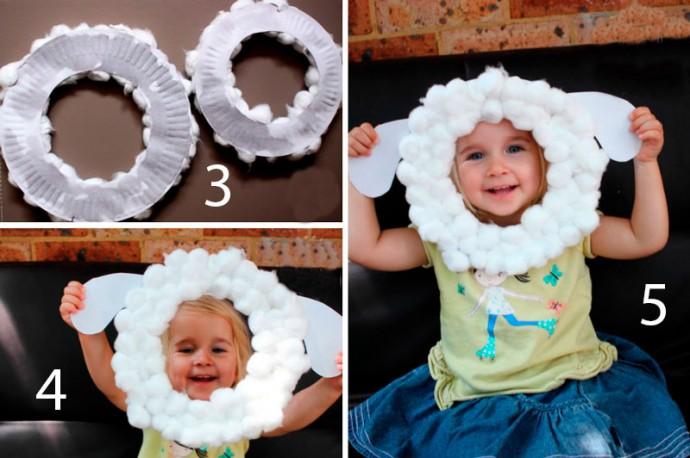 Как ребенку самому себе сделать маску овечки 3
