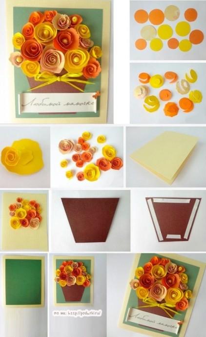 Открытка с цветами для мамочки