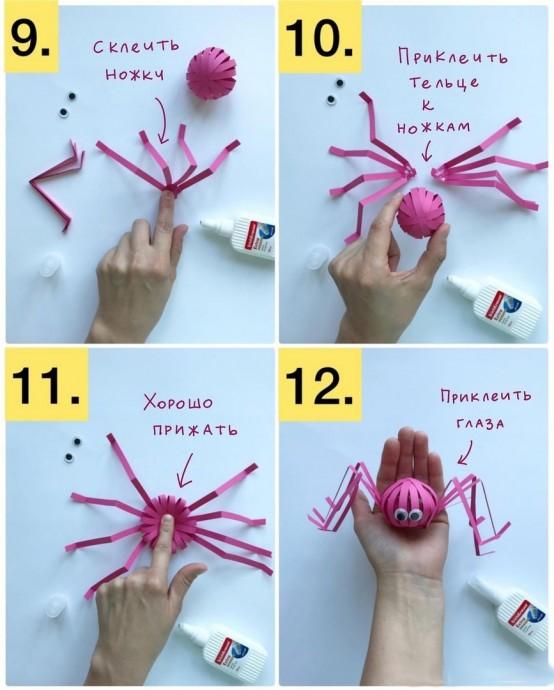 Длинноногие пауки из полосок бумаги