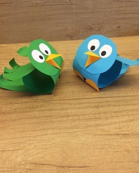 Объемные птички из бумаги