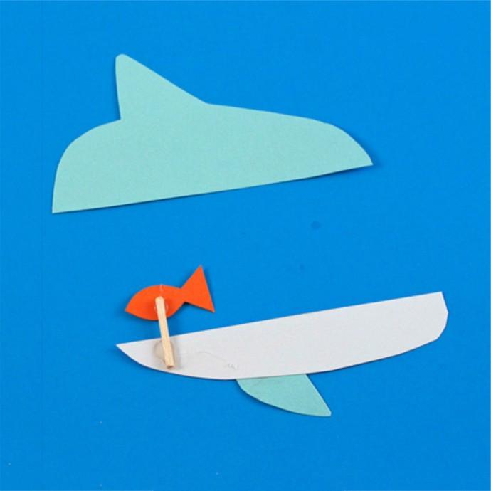 "Поделка из картона и прищепки ""Акула"""