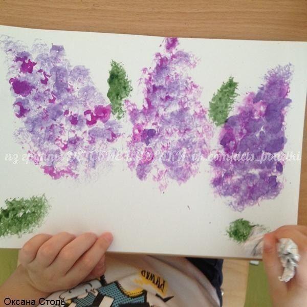 Рисование в нетрадиционной технике методом тычка скомканной бумагой