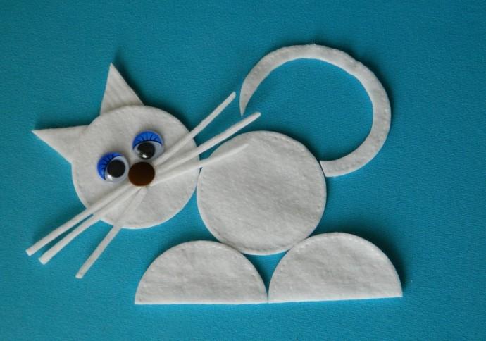 Идеи аппликаций с ватными дисками: животные