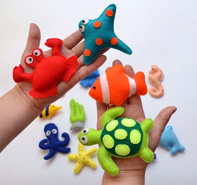 Водный мир: игрушки из фетра с шаблонами