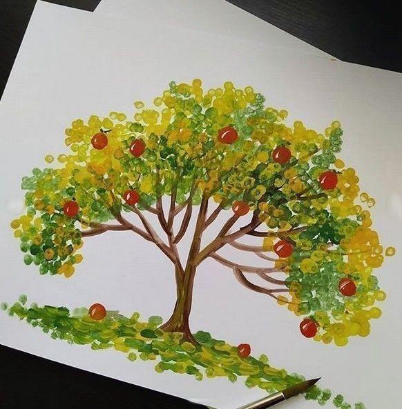 Идеи рисования с детьми ватными палочками