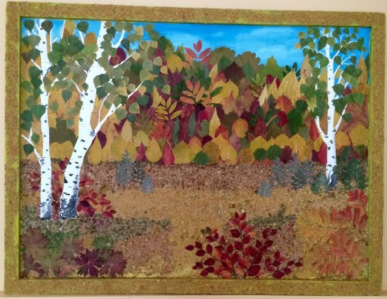 Осенний пейзаж, который создается из опавших листьев