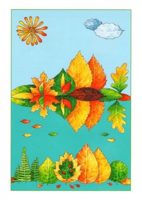 Аппликации из листьев