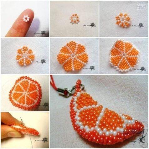 Долька апельсина из бисера