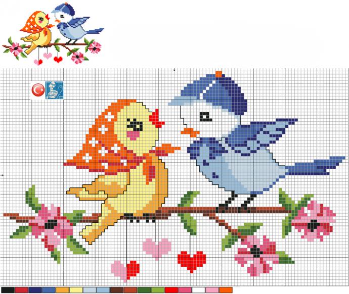 Схемы вышивки птичек с детьми 1