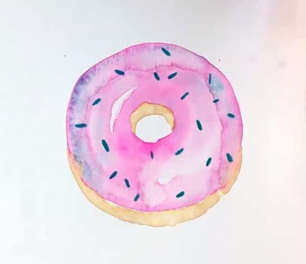 Рисуем пончик акварелью