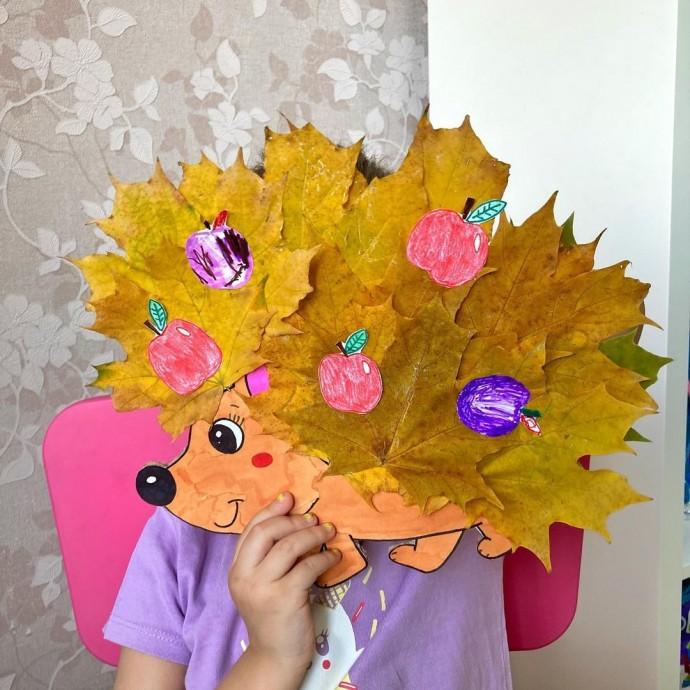 Ёжик из осенних листьев