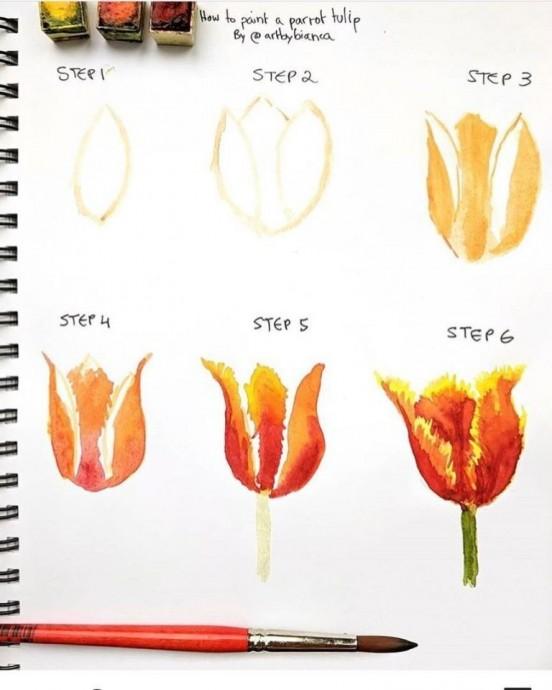Короткие туториалы по рисованию цветов акварелью