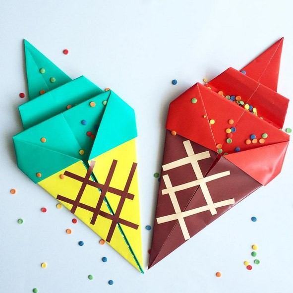 Мороженое в технике оригами