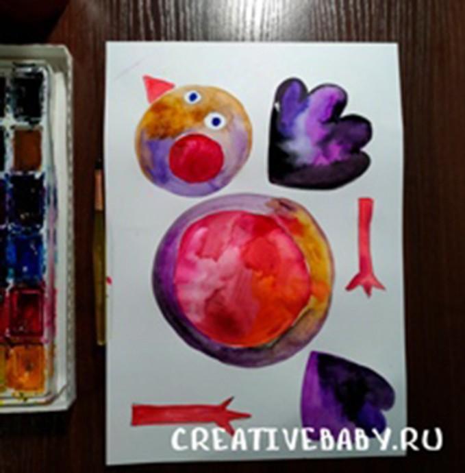 Забавная птичка, нарисованная акварелью