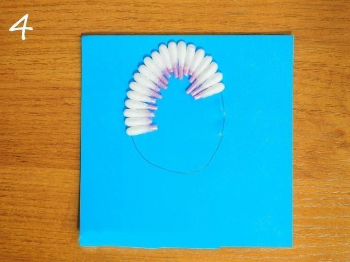 Аппликация из ватных палочек и цветной бумаги