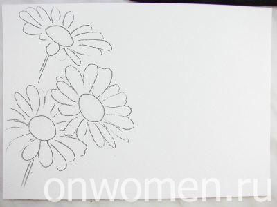 Рисуем с детьми ромашки