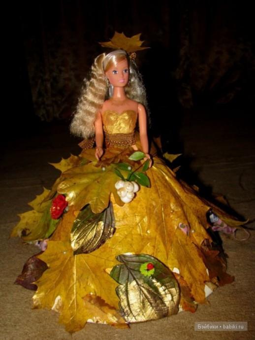 Идеи создания платьев для кукол из листьев
