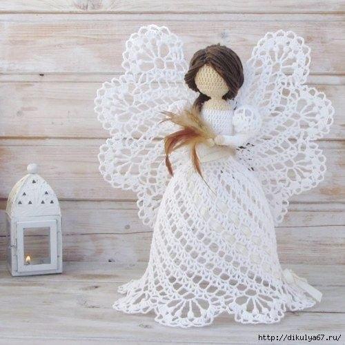 Рождественские ангелочки, которые связаны крючком 2