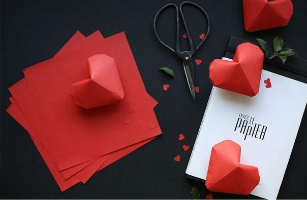 Объемное сердце из бумаги 1
