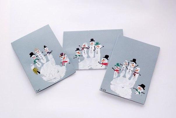 Рисуем снеговиков пальчиками 6