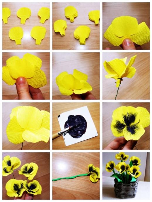 Как сделать различные цветы из гофробумаги