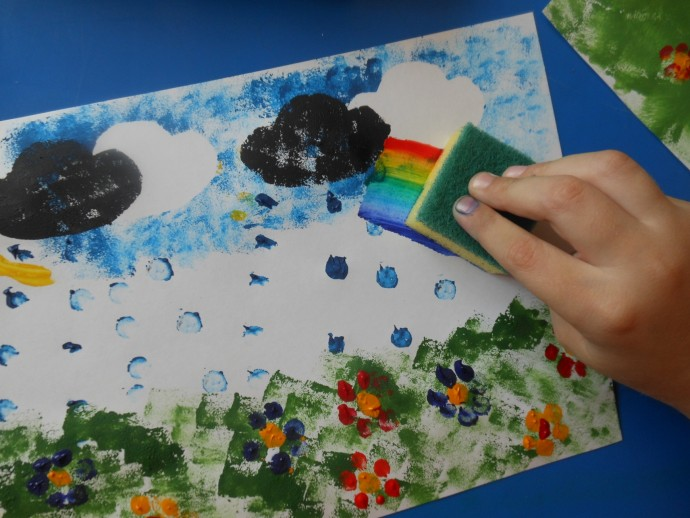 Рисуем с детьми губкой