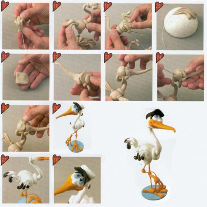 Аист из пластилина: мастер-класс
