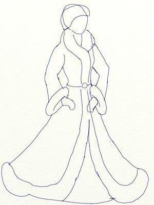 Рисуем Снегурочку 4
