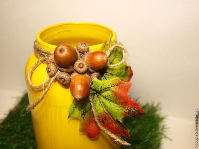 Осенний подсвечник руками ребенка