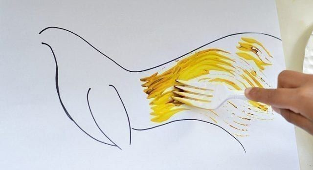 Рисование вилками: петух